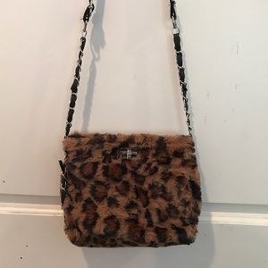 Small Leopard print chain crossbody purse